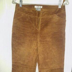 Newport News Cognac/Caramel Suede Leather Flare 4